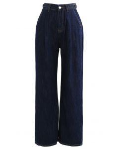 ベルト付きワイドレッグポケットジーンズ ネイビー