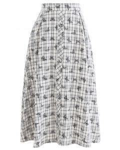 バタフライプリントプラッド柄スカート