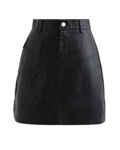 ポケットフェイクレザーテクスチャスカート ブラック