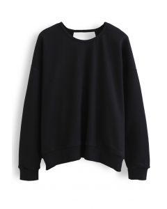 オープンバックスウェットシャツ ブラック