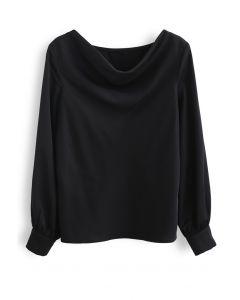 サテンドレープネックシャツ ブラック