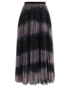 カラーブロックメッシュチュールプリーツスカート ピンク