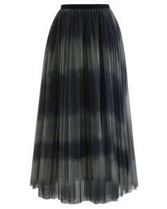 カラーブロックメッシュチュールプリーツスカート グリーン