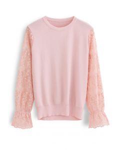 刺繍メッシュスリーブニットトップス ピンク