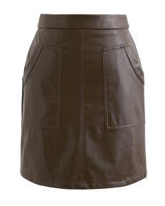ポケット付きフェイクレザースカート ブラウン