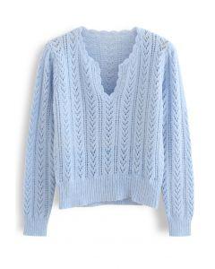 Vネックセーター ブルー