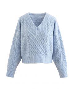 タイバックケーブルニットVネックセーター ブルー