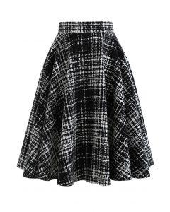 Aラインスカート ブラックxホワイトプラッド柄