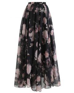 ピンクローズ水彩柄マキシスカート