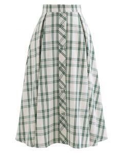 ボタン付きプリーツスカート グリーンチェック柄