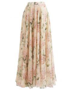 花柄水彩マキシスカート