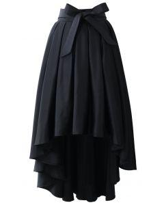 蝶結び/プリーツ/テールカットスカート/ブラック