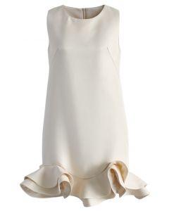 シルキーな肌触り/裾フリル/シフトワンピース