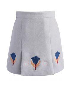 チューリップ刺繍柄/ウール混台形スカート/グレー