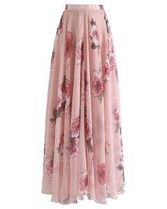 花柄プリーツマキシスカート  ピンク