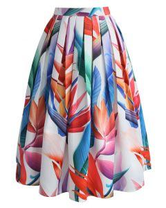 バラ色の極楽鳥花プリントミディスカート