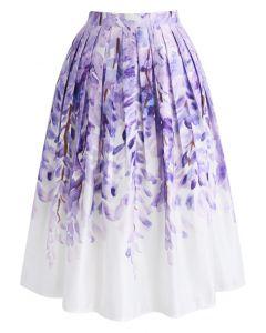 藤の花プリントミディスカート
