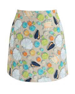 貝塚プリント 台形スカート ベージュ