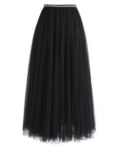 おしゃれコーデ術 マキシ丈 チュール スカート ブラック