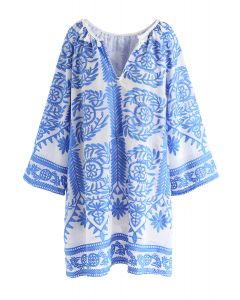 vネックエスニック風刺繍ワンピース ブルー