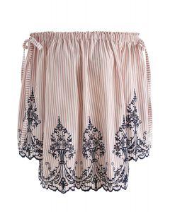 ショルダーリボン付き花柄刺繍オフショルダートップス ピンク