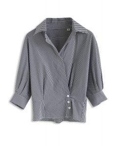vネックバットウイングスリーブシャツ ブラックギンガム