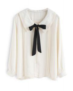 リボン付きシャツ アイボリー