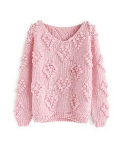 ポンポン付きvネックセーター ピンク