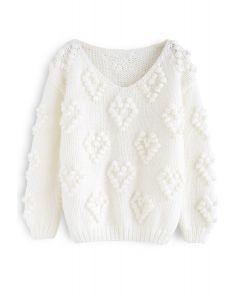 ポンポン付きvネックセーター ホワイト