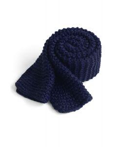 手編みニットスカーフ ネイビー