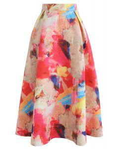 水彩刺繍スカート