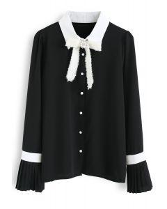 シフォンシャツ ブラック