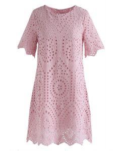 刺繍アイレット入りワンピース ピンク