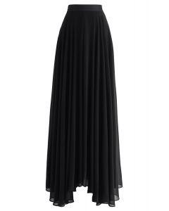 無地シフォンマキシスカート ブラック
