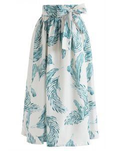 ボウノット付き葉柄スカート アイボリー