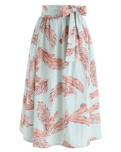 ボウノット付き葉柄スカート グリーン