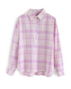 プラッド柄長袖シャツ ピンク