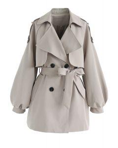 パフスリーブダブルブレストベルト付きジャケット