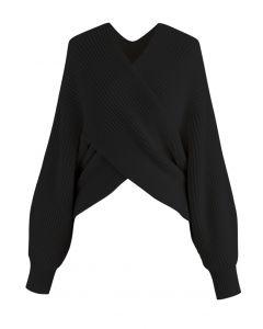 リブ編みセーター ブラック