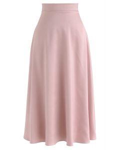 サテンAラインミディスカート ピンク