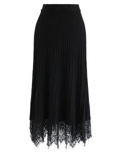 レース裾プリーツAラインニットスカート ブラック