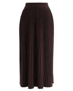 プリーツニットスカート ブラウン