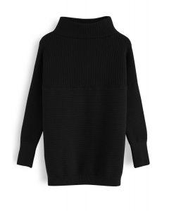 リブタートルネックセーター ブラック