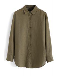 長袖ボタンダウンシャツ グリーン