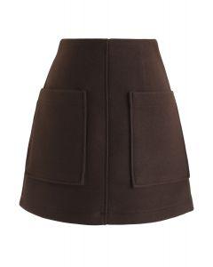 ポケット付きミニスカート ブラウン