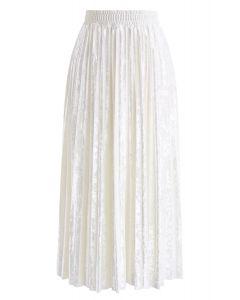 ベルベットプリーツスカート パールホワイト