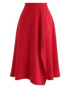 非対称フラップトリムAラインスカート レッド