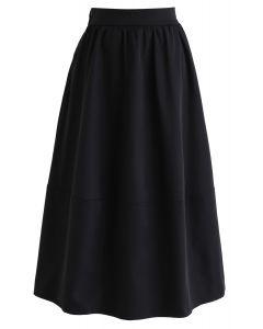 無地Aラインスカート ブラック