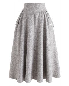 Aラインミディスカート サンド